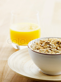 Cropped image of a bowl of breakfast cereals