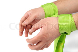 Hands tied on white background.