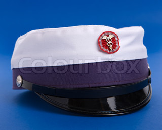 Danish graduation hat on blue background