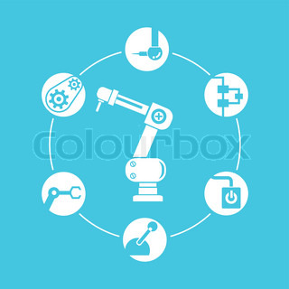 robotic arm and automation diagram blue background