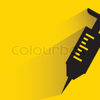 syringe on yellow background