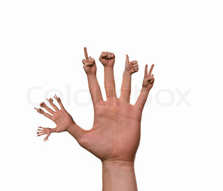 Fingers showing different hand gestures