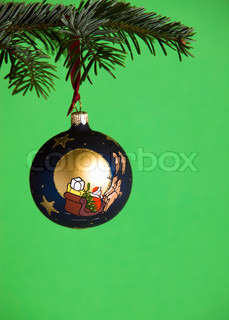 Christmas bauble decoration hanging on a tree