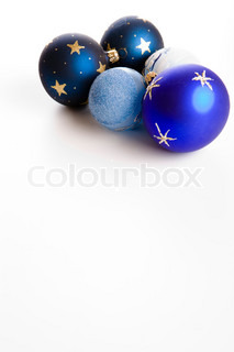Blue Christmas baubles decoration on white background