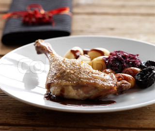Traditional danish Christmas food - roast duck and brown potatoes