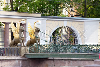 Russia. Saint petersburg. Bank bridge. Sculptures of Griffons.