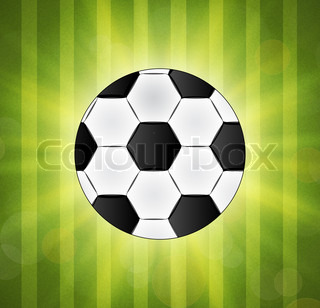 Soccer ball on green background poster design with place for text
