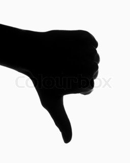 A hand making a thumb's down  gesture on white background