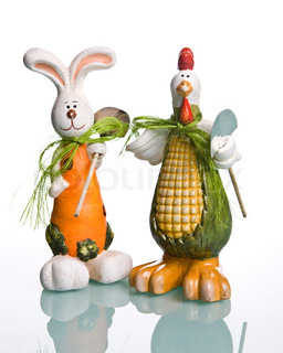 Cute Easter decoration on white background