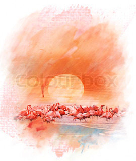 Watercolor Image Of  Flamingos