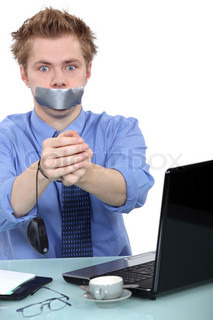 Man with mouth taped up