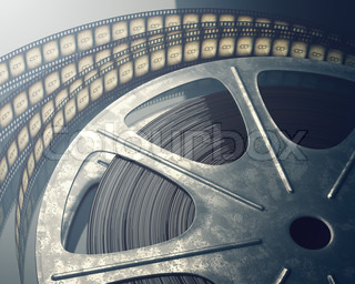 movies word on stage showing cinema and hollywood stock
