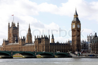 The view of Westminster and Big Ben in London