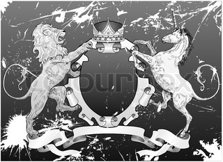 grunge shield coat of arms lion, unicorn, crown