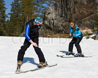 Girl at the receiving end of a skiing lesson at Kongsberg ski center Norway