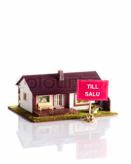 Miniature house with the swedish word for 'for sale'