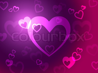 Hearts Background Shows Loving  Romantic And Passionate