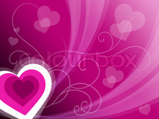 Hearts Background Means Pink Valentines Or Anniversary Card