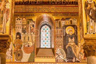 Golden mosaic in La Martorana church, Palermo, Italy