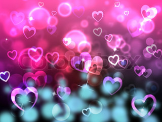 Glow Bokeh Shows Heart Shapes And Backdrop