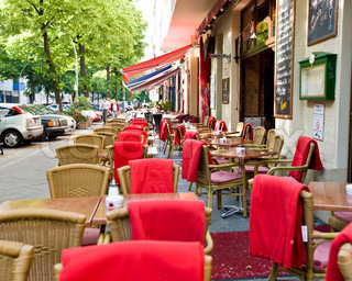 Chairs and tables of an outdoor restaurant in Berlin