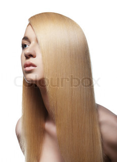 Sensual woman with shiny straight long blond hair