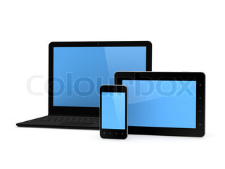 Notebook, cellphone and tablet PC.