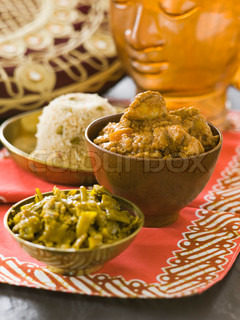 Traditional Indian food in bowls