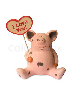 Funny pig with heart I Love You!