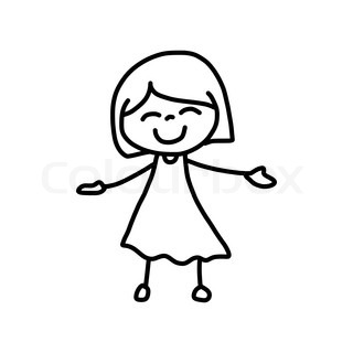 hand drawing cartoon character happy kids - Cartoon Sketches For Kids