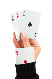Hand and card in sleeve