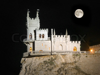 Old castle and Moon
