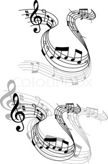 Two different grayscale designs of a swirling music score for Note musicali dwg
