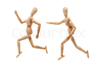 Running and chasing wood men