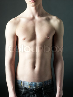 Young boy without T-shirt