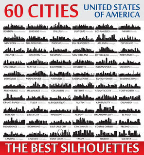 Incredible city skyline silhouettes set. United States of America.