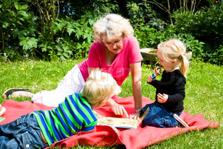 Grandmother and her grandchildren's in the parc