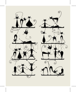 Funny black cats on shelves for your design