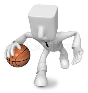 3d Businessman basketball player with ball. 3D Square Man Series.