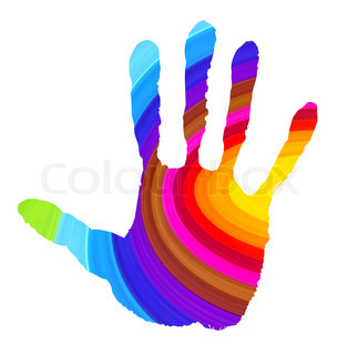 Abstract handprint in vibrant colors