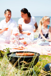 Family summer picnic in the beach