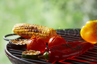 Grill corn and mix vegetables