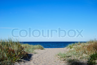 Pathway to the sand beach at a bay of of Baltic Sea at the swedish island Oland