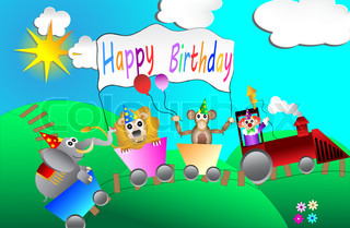circus birthday party card design for kids vector illustration