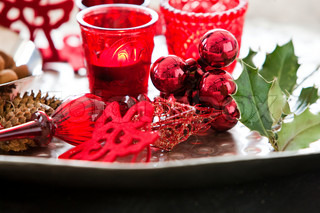 Red Christmas decoration on the table