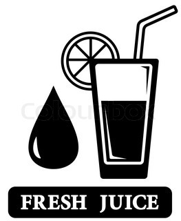Black isolated fresh juice icon with glass silhouette ...