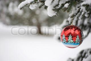 Billede af 'juleaften, juletræ, sne - omfattet'