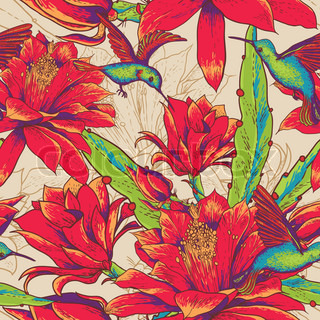 Seamless background flowers and hummingbirds