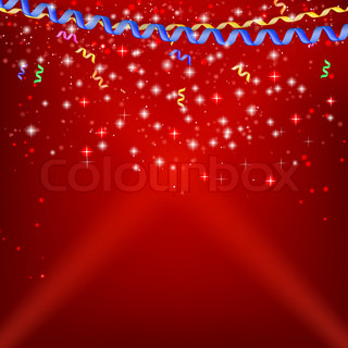 Confetti, ribbons and streamers on a festive red background.Vector illustrations