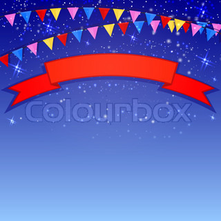 Festive blue background with flags and confetti. Vector illustration